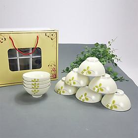 Bộ bát ăn cơm men kem vẽ hoa may mắn cỏ bốn lá chính hãng gốm sứ Bát Tràng