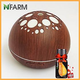Máy khuếch tán/ máy xông tinh dầu Ánh Trăng màu gỗ nâu N'Farm NF2041 + tinh dầu cam N'Farm (10ml)/ Phun sương sóng siêu âm.