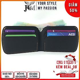 Ví cầm tay mini J4M, ví sen cách điệu da bò thật, thời trang Unisex cho nam và nữ đựng thẻ và tiền, VSX21-01