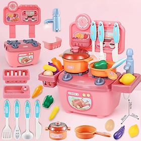 Bộ đồ chơi nấu ăn nhà bếp KAVY NO.8808 cho bé gái nhiều chi tiết, nhựa nguyên sinh an toàn - màu hồng