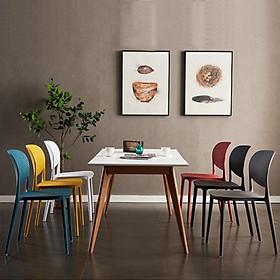 Bộ bàn ăn hiện đại Lexi và 6 ghế Cat nhựa đúc cao cấp hcm