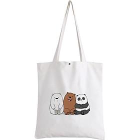 Túi Tote Vải Kiểu Basic In Hình We Bare Bears A123