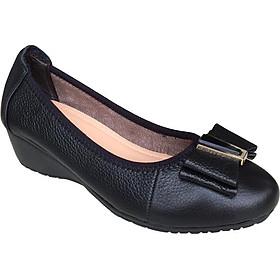 [HÌNH ẢNH THẬT]  Giày nữ đế xuồng 3cm Trường Hải đính nơ xinh màu đen da bò cao cấp mềm mại đế xuồng cao su chống mòn không trơn DX0311