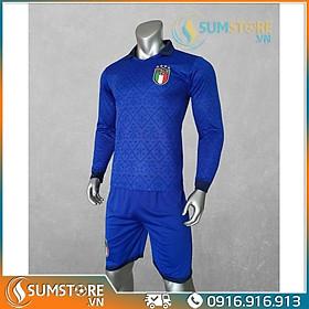 Bộ thể thao bóng đá Tuyển Italia Xanh Cổ Bẻ Dài Tay - Đồ đá banh 2020