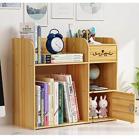 Kệ sách để bàn đa năng bằng gỗ kệ để hồ sơ tài liệu size lớn(41x49cm) phong cách châu Âu 3 màu vân gỗ tùy chọn- Tặng 1 móc khóa khung hình thời trang