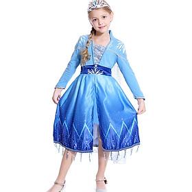 Váy Đầm Elsa Frozen 2 Màu Xanh Tay Dài Cho Bé Gái Kèm Tà Xẻ Liền | HM0674