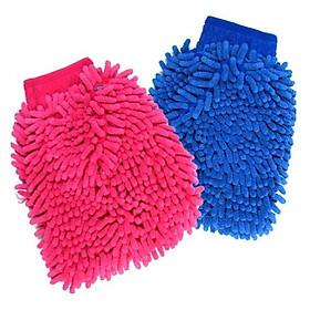 Bộ 2 găng tay lau rửa xe siêu mềm thấm hút tốt chuyên dụng cho ô tô xe máy (Màu ngẫu nhiên)