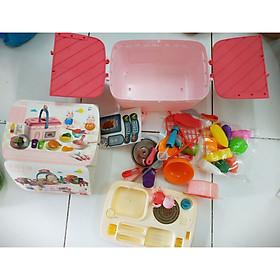 Bộ đồ chơi xếp hình, lắp ráp quầy bếp nấu ăn peppa pig 2 trong 1 dạng giỏ xách xin xắn, có bồn rửa sử dụng được, có vòi nước thật