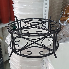 Bộ 2 kệ sắt tròn sơn tĩnh điện màu đen đặt chậu hoa 21x10cm