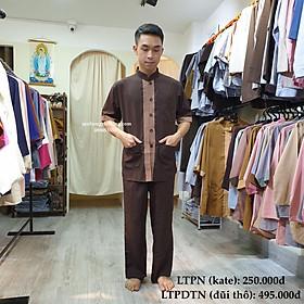 Bộ đồ Phật tử nam đi chùa tay ngắn vải mềm mát không bai xù lên phom chuẩn chỉ dành cho cư sĩ nam