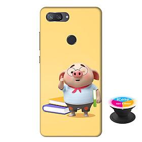 Ốp lưng nhựa dẻo dành cho Xiaomi Mi 8 Lite in hình Heo Con Mọt Sách - Tặng Popsocket in logo iCase - Hàng Chính Hãng