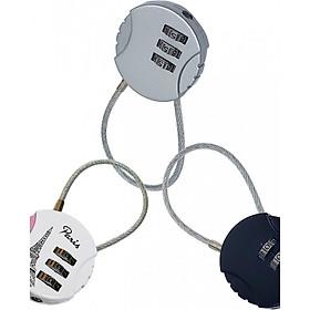 Bộ 3 cái Ổ khóa tròn vali, balo, túi du lịch loại dây cáp mật mã 3 số TK034