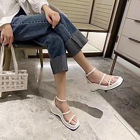 Giày sandal nữ xuồng quai ngang phối xỏ ngón đế nhẹ 7p phong cách Hàn Quốc siêu xinh