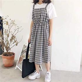 Váy Yếm Kẻ karo, Cực Cute Nữ Tính, size từ 45-56kg, nhiều màu lựa chọn