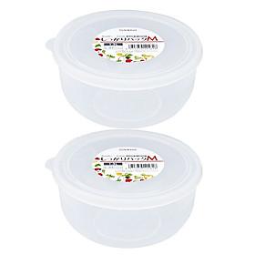 Set 02 Hộp nhựa cao cấp bảo quản thực phẩm Nakaya hình tròn, có nắp mềm 1300ml - Nội địa Nhật Bản