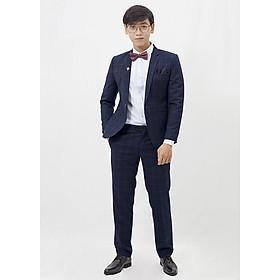 Bộ Suit xanh đen dày caro 1 nút T9169