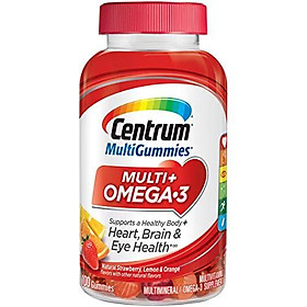 Centrum MultiGummies Multi + Omega-3 (100 Count, Natural Strawberry, Lemon, Orange Flavors) Multivitamin / Multimineral Supplement Gummy