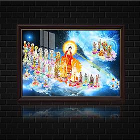 Tranh Phật Giáo Tranh đèn Tây Phương Tiếp Dẫn Nhiều Size , chất liệu kính cường lực cao cấp.