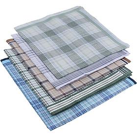 5Pack Kiểu Kẻ Sọc Nam Khăn Tay Cotton Cổ điển Pocket Vuông Hanky