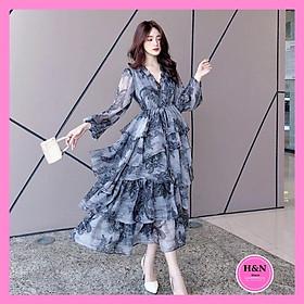 Váy Thiết Kế Hoa Tầng Cổ V, Váy tơ hoa tầng sang chảnh, xinh xắn - Video thật 100% - H&N Store