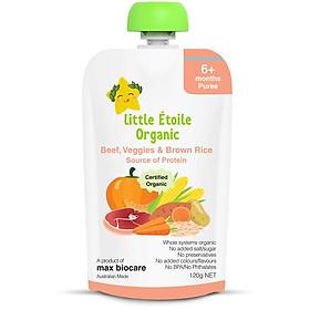 Thực phẩm ăn dặm hữu cơ Little Étoile Organic cơm gạo lứt vị bò và rau củ