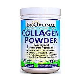 BioOptimal Collagen Peptides - Collagen Powder, Grass Fed, for Skin, Hair, Nails & Joints, Collagen Supplements for Women & Men, Pasture Raised, Dissolves Easily, 16 Ounces