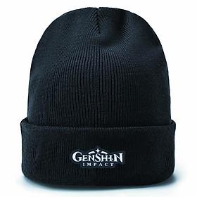 Mũ len in hình Genshin Impact logo nón đen anime chibi