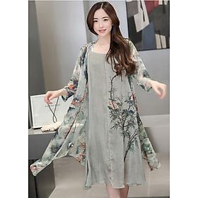 Đầm suông dạo phố kiểu set đầm suông phối áo khoác in họa tiết ROMI 0390