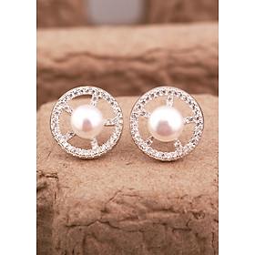 Bông tai bạc tròn đính đá kèm ngọc trai ở giữa thiết kế độc đáo lạ mắt từ thương hiệu Opal YOT12-23