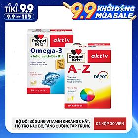 Bộ đôi tăng cường sức khỏe toàn diện bổ sung Vitamin khoáng chất Doppelherz A-Z Depot và dầu cá Omega-3 + Folic acid + B6 + B12 Doppelherz (02 hộp 30 viên)