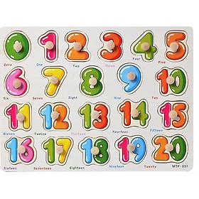 Bảng ghép hình chữ số núm gỗ