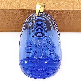 Mặt Phật Bất động minh vương pha lê xanh 5cm