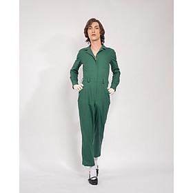 Jumpsuit Nữ Unisex_ Yvette LIBBY N'guyen Paris_VOYAGER_Màu Xanh (Forest Boime), Vải lanh cao cấp viền cotton lụa Ý