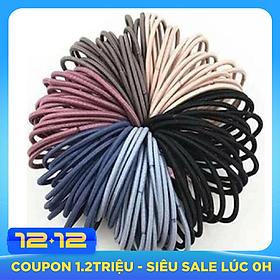 Set 100 dây chun buộc tóc trơn các màu