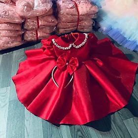 Đầm váy công chúa bé gái  cổ đính hạt kèm nơ cài đầu cho bé từ 8kg đến 22kg( màu đỏ)
