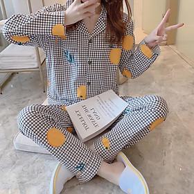 Pijama- Bộ Ngủ Nữ cotton áo dài quần dài BNNDQ07