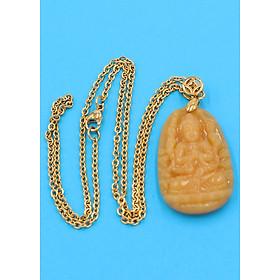 Hình đại diện sản phẩm Vòng cổ phật Thiên Thủ Thiên Nhãn - thạch anh vàng 3.6cm DIVTVB8 - dây inox - tuổi Tý