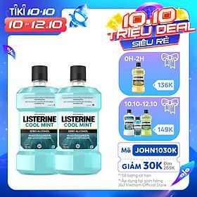 Bộ 2 Chai Nước Súc Miệng Listerine Giúp Hơi Thở Thơm Mát Cool Mint Zero 750mlx2