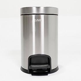 Thùng rác đạp chân tròn, nano, inox 304, Model: SJ8-Y01, Màu: Bạc và Đen, Dung tích: 8 lít, Công nghệ giảm chấn bơm thủy lực thông minh, Thương hiệu GNF, Hàng chính hãng
