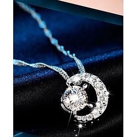 Dây chuyền nữ Ánh dương S925 nạm đá lấp lánh, vòng cổ bạc nữ, dây chuyền mặt đính đá, dây chuyền bạc DC56