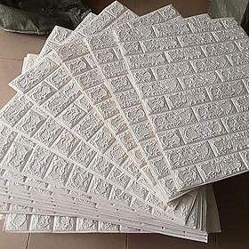 bộ 10 miếng xốp dán tường giả gạch aa 3dt mầu trắng