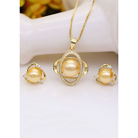 Bộ Trang Sức Bạc Ngọc Trai Mạ Vàng 18k BV4506 Bảo Ngọc Jewelry