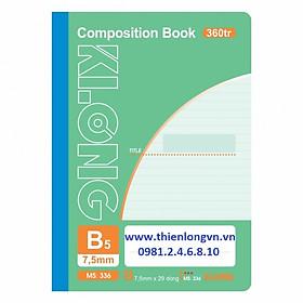 Sổ may dán gáy B5 - 360 trang; Klong 336 bìa xanh lá