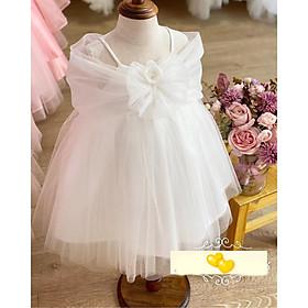 Váy đầm công chúa bé gái kiểu nơ trễ vai cho bé từ 10kg đến 24kg