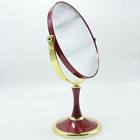 Gương trang điểm hoàng gia 2 mặt sang trọng -màu đỏ - Tặng 1 lọ tinh dầu oải hương 10ml