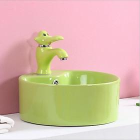 Bộ chậu rửa tay trẻ em hình tròn, kèm vòi lavabo hình con voi, màu xanh lá