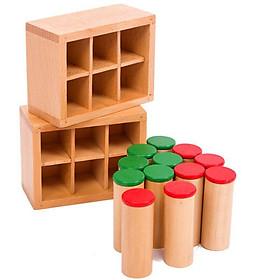 Bộ 12 hộp âm thanh kèm hộp gỗ dựng giáo cụ Montessori