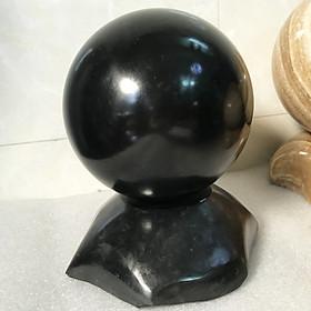 Quả cầu phong thủy đen cho người mệnh Mộc và Thủy đường kính 10 đến 11 cm (đá đen tự nhiên để bàn gia tăng tài lộc xuất xứ Việt Nam) canxiteden