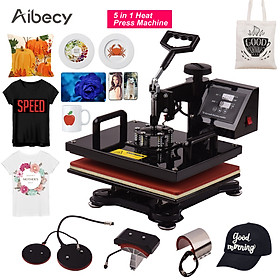 Aibecy 12 * 15 Inch Combo Heat Press Machine 5 in 1 Sublimation Heat Transfer Multifunction Machine 360-degree Rotation