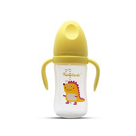 Bình sữa Kichilachi 240 ml chất liệu PP an toàn, Cổ rộng có quai cầm tháo được